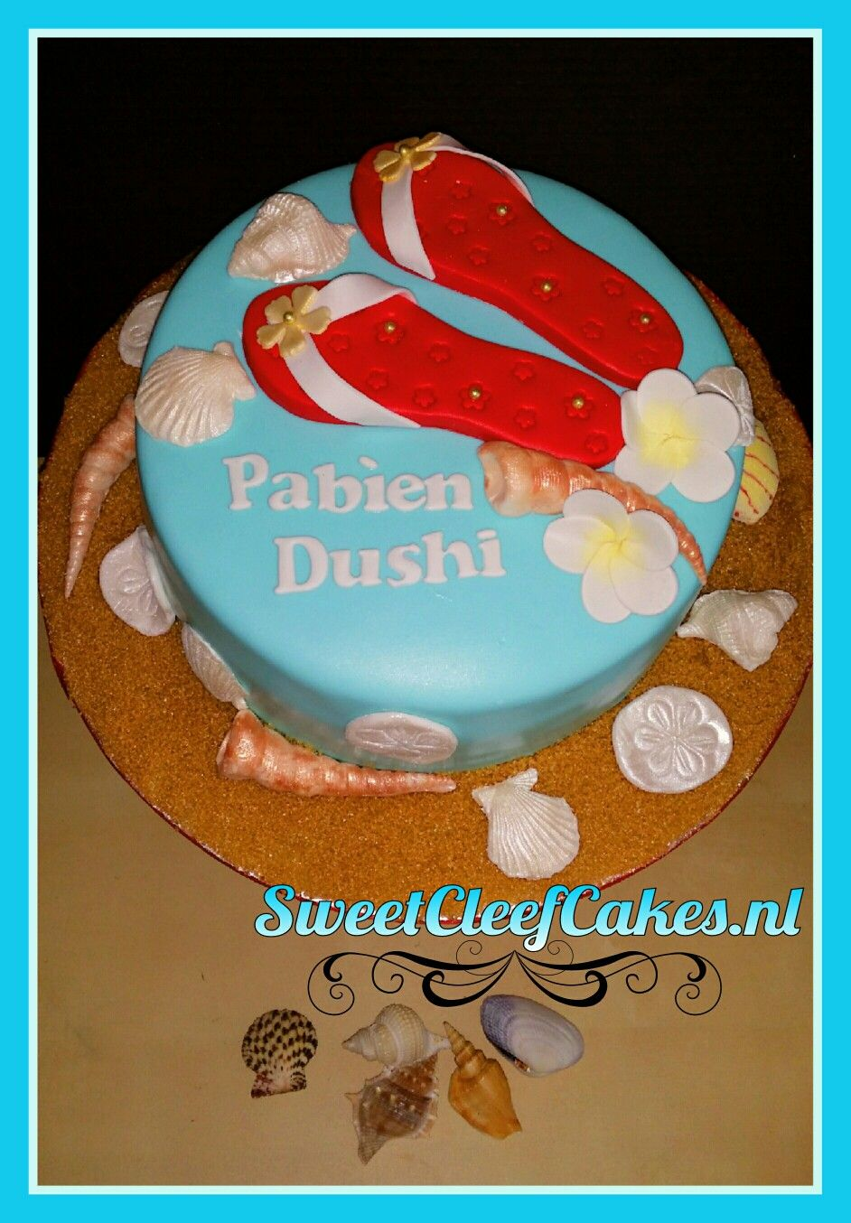 Beach Theme Cake For A Woman From Curacao The Text Reads Happy
