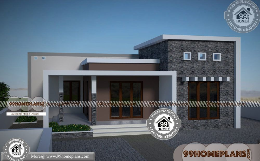 Single Story Flat Roof House Plans With Contemporary Kerala Style