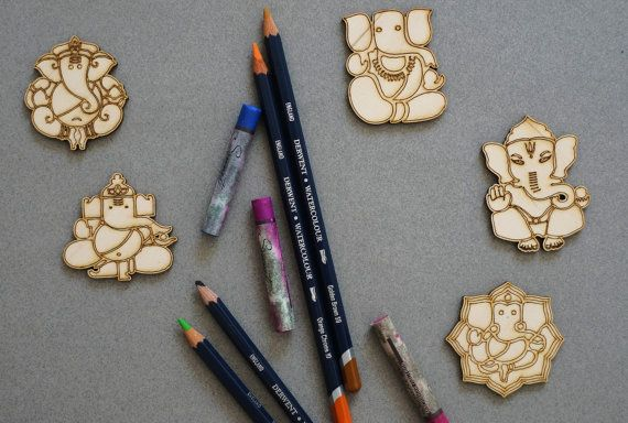 Ganesha set of 5 pcs laser cut plywood cutouts with engraving for DIY projects craft supplies by woodandroot. the best idea for art therapy :) ! (Craft Supplies & Tools  Scrapbooking Supplies  Embellishments & Die Cuts  wood  unfinished  Supplies  scrapbooking badge  pin  brooch  Patches  magnets  India  god  religion)