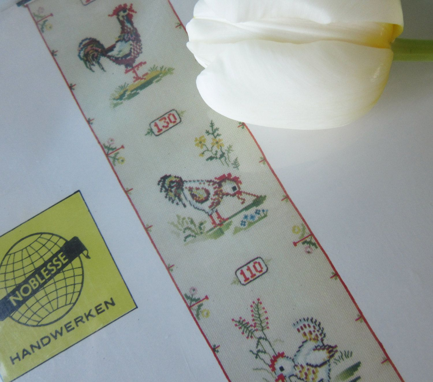 Vintage Embroidery Kit of a Growth Chart with Chicks, and a Rooster  Design door Vantoen op Etsy