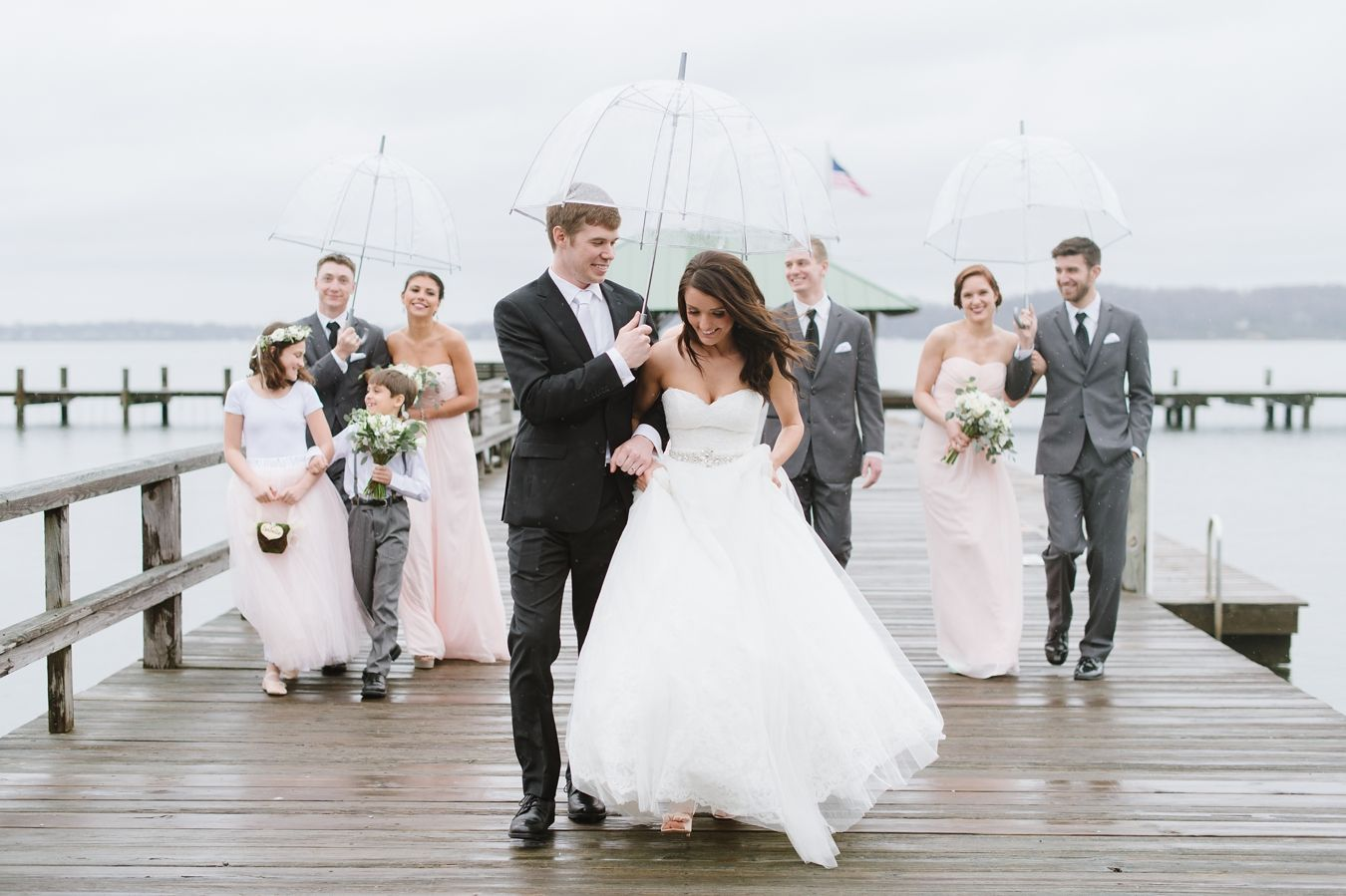 Rainy Day Sherwood Forest In Annapolis Wedding With Clear Umbrellas Blush Bridesmaids Dresses And