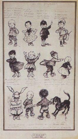 Planche d'histoires d'enfants by Francisque Poulbot