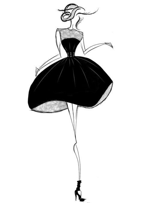 Fashionable dress sketches black