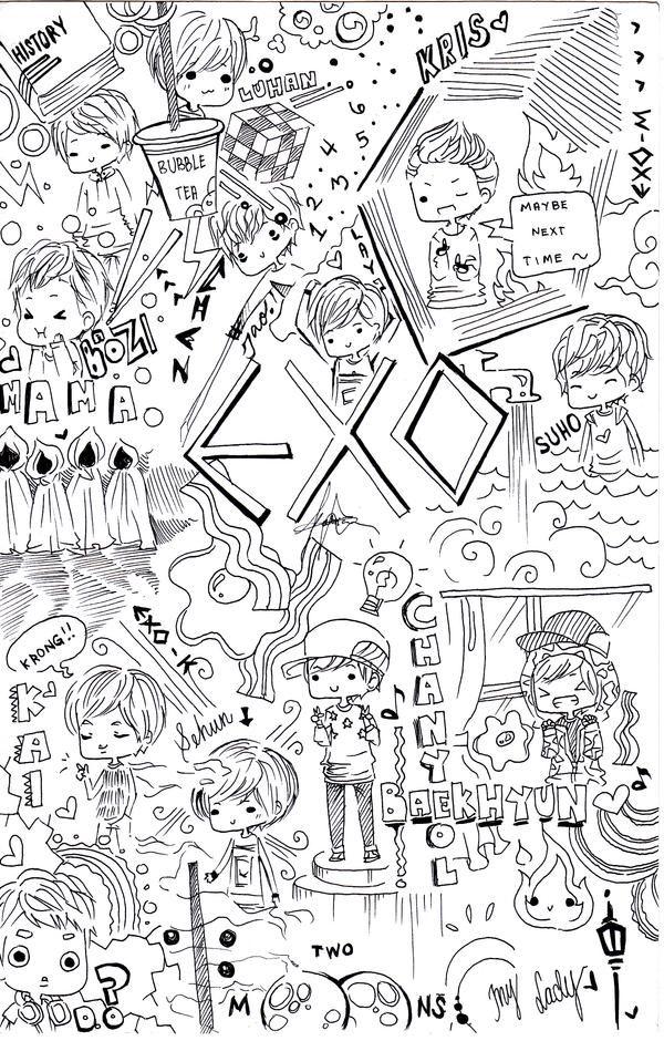 EXO doodle by misunderstoodpotato on DeviantArt