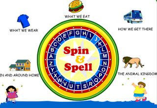 Spin and Spell - Great for vocabulary, letter ID, and of course practicing spelling. Will show the word to the child if needed. My Kindergarten class enjoys playing