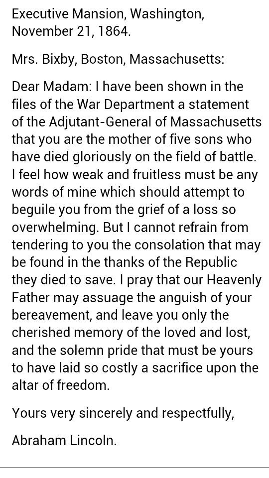 Letter To Mrs  Bixby From President Abraham Lincoln  1864