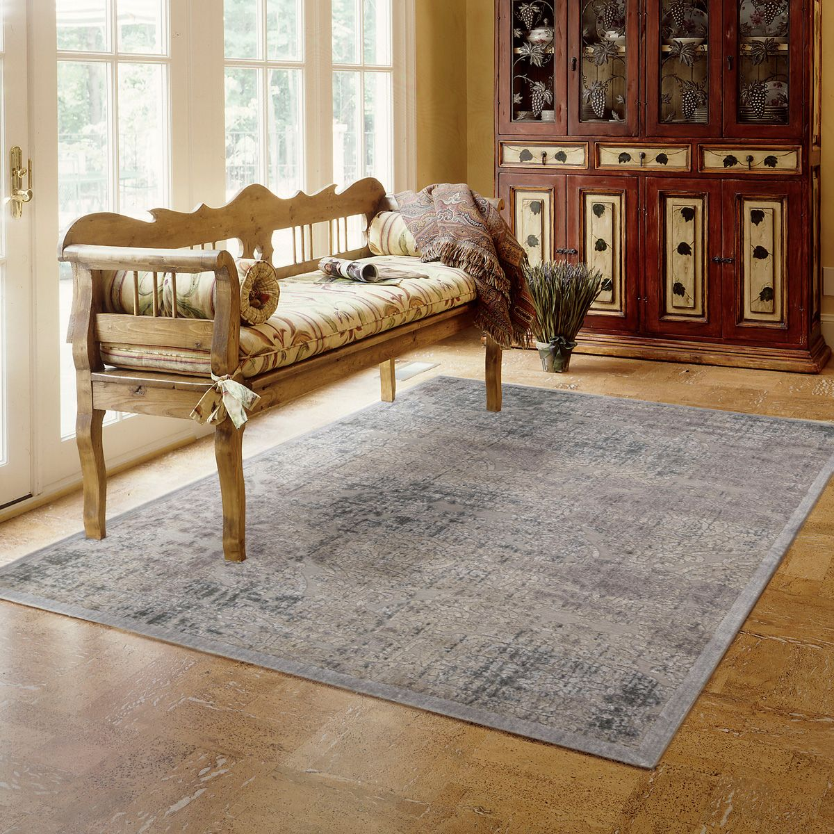 Vintage Effect Rug: Large Vintage Effect Rug In Grey 129.99