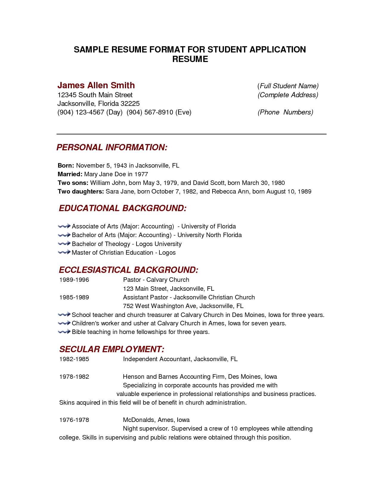 Resume Template For College Students resumecareer – Full Resume Format Download