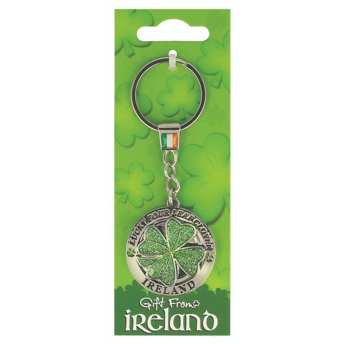 Gift From Ireland Lucky Green Four Leaf Clover Spinner Keychain Clover Leaf Four Leaf Clover Clover