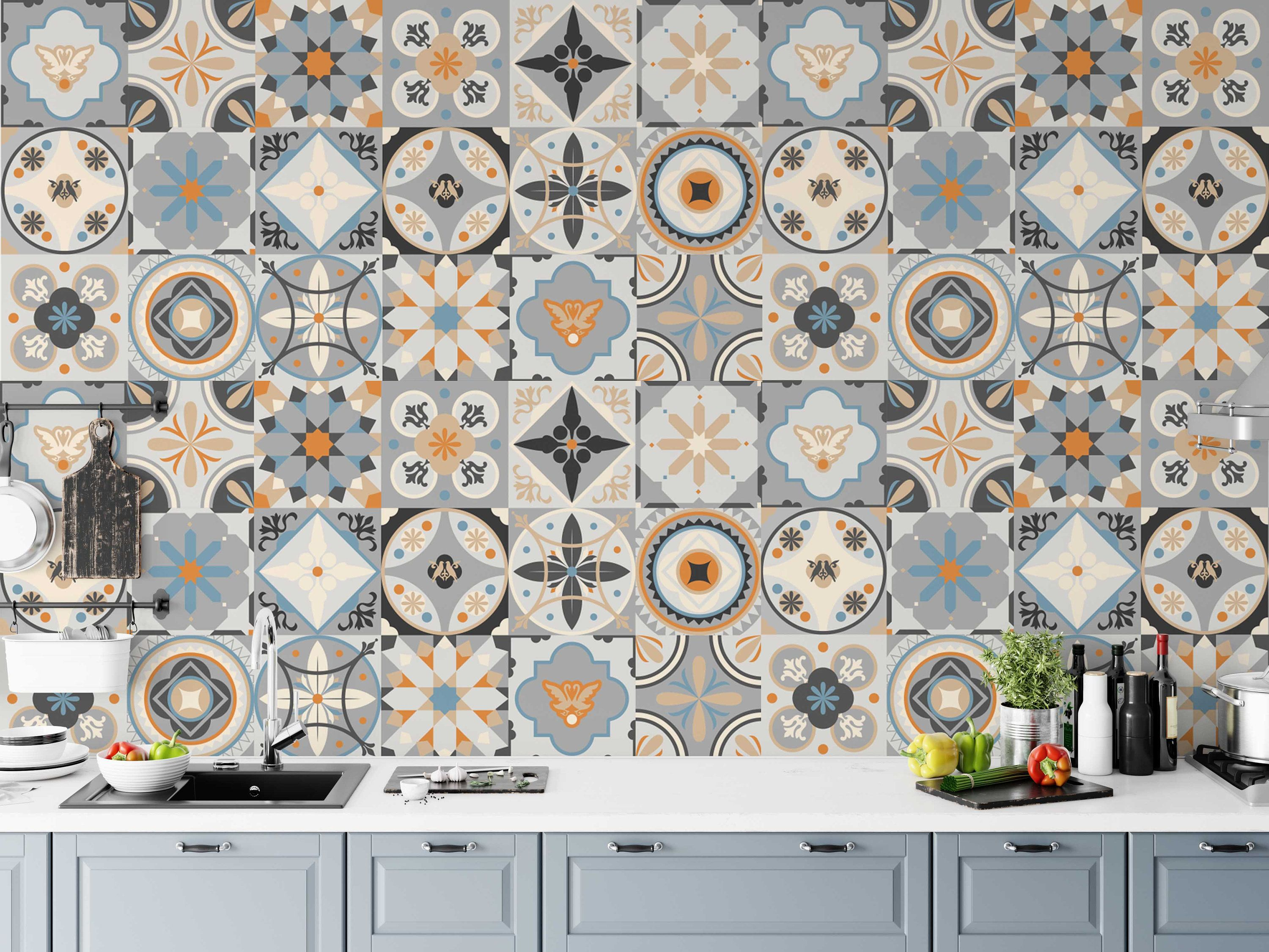 Arabic And Moroccan Style Square Modern Design Background Etsy Removable Wallpaper Home Decor Wall Art Kitchen Wallpaper