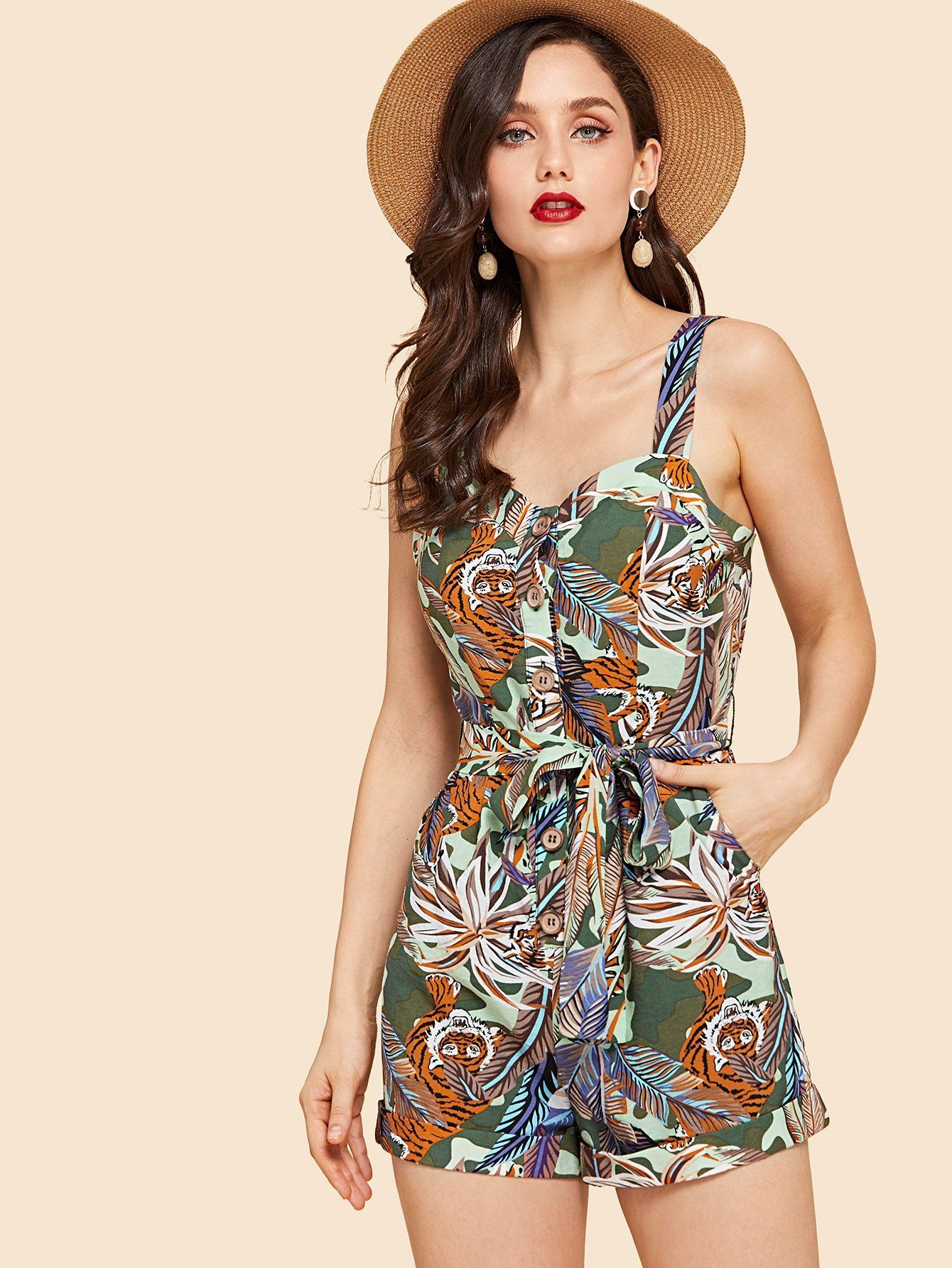 f359044d573 Tropical Print Button Front Belted Romper