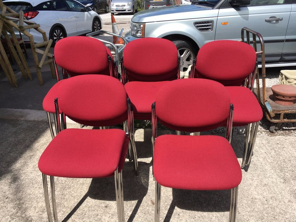 38 red conference chairs stackable study pub cafe job lot