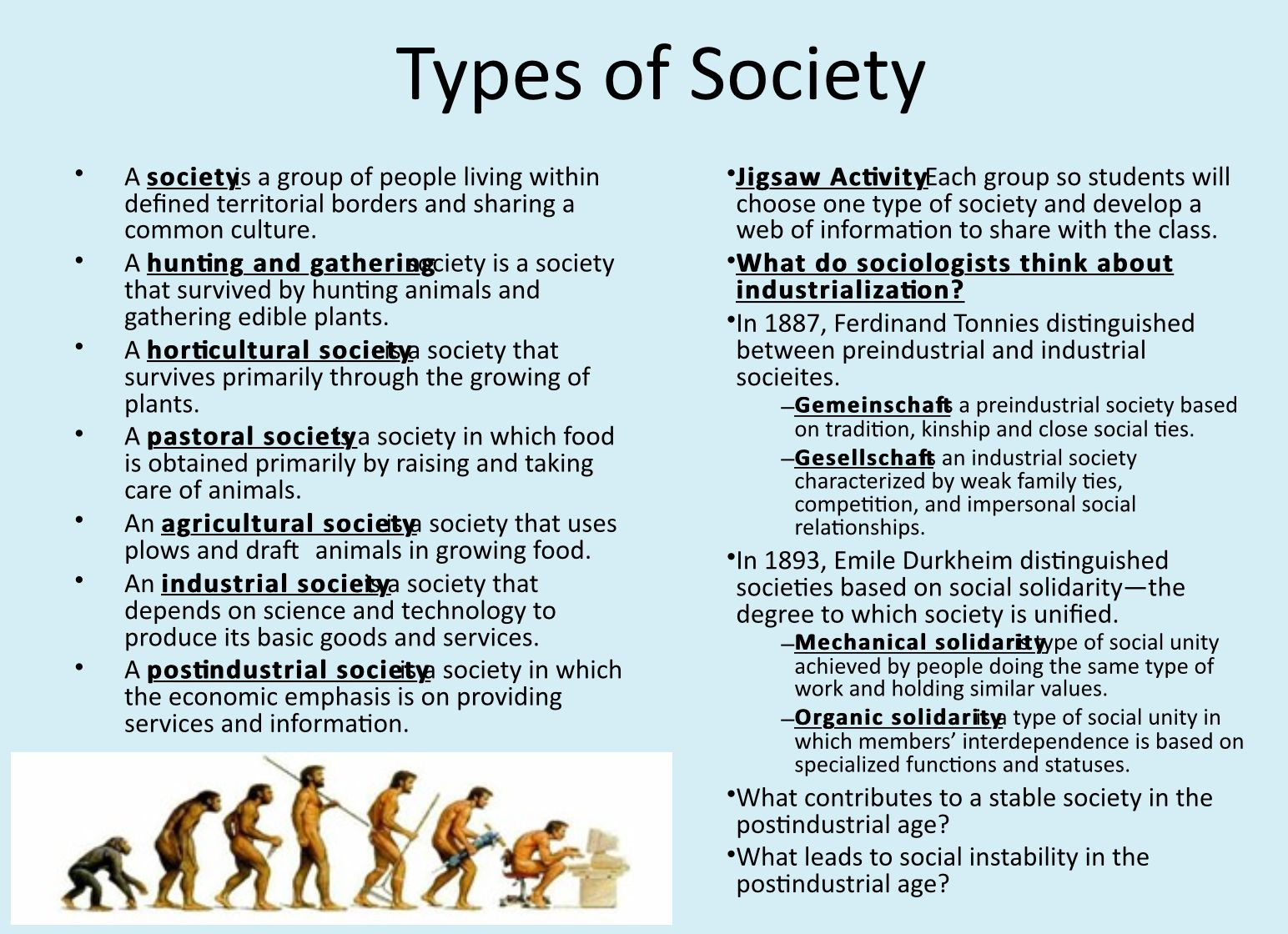 What are the types of society