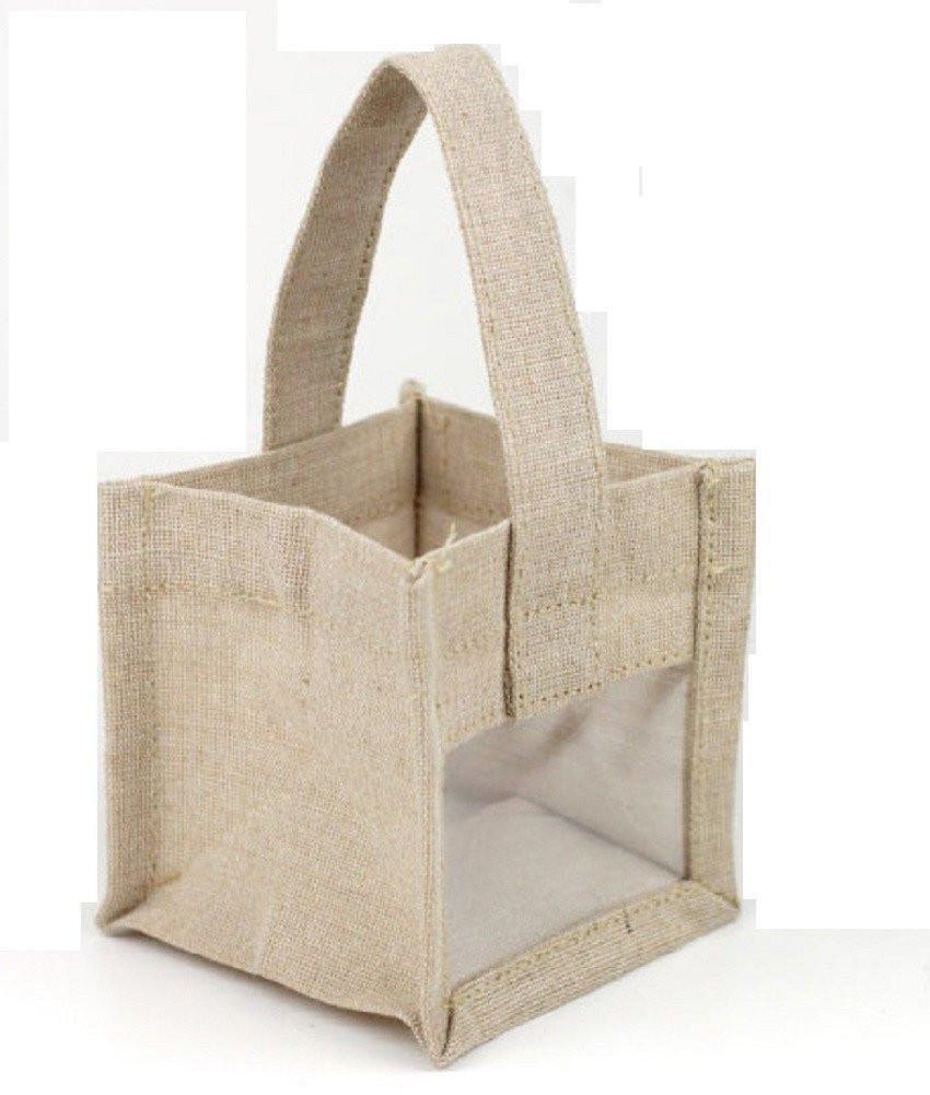 Cute Mini Jute Burlap Gift Bag Rustic Wedding Party Favor Bag B905 Burlap Gift Bags Burlap Tote Bags Burlap Tote