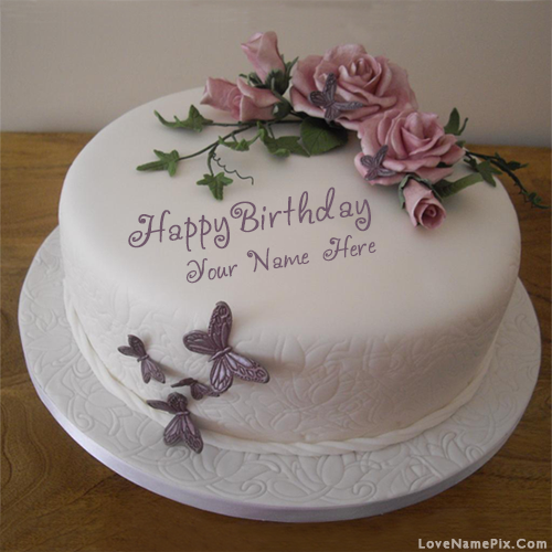 Butterfly Roses Birthday Cake With Name Photo