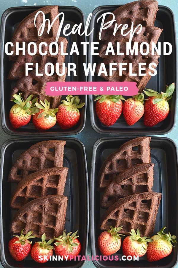 Meal Prep Chocolate Almond Flour Waffles! These chocolate goodies are not only e... -