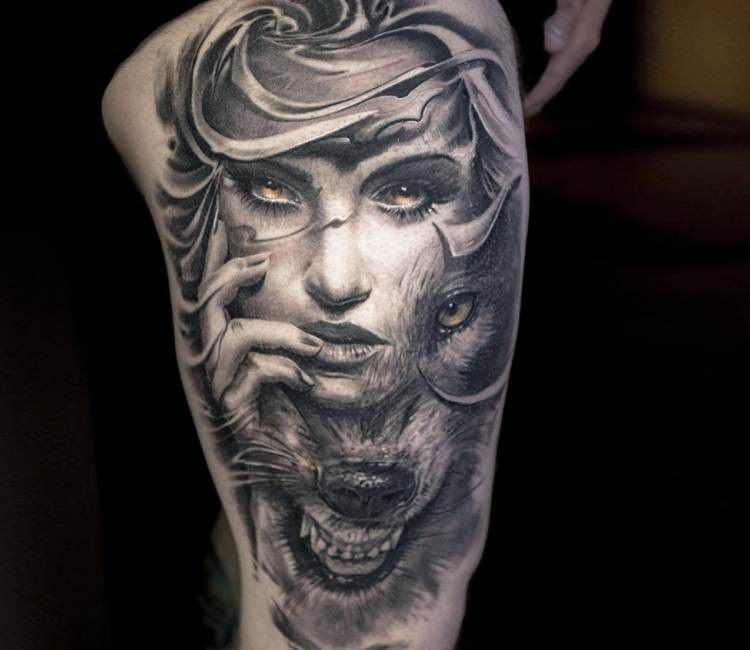 Lion Morph Tattoo: Wild Face Tattoo By Victor Portugal