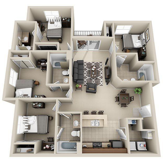 3 4 Bedroom Apartments Jmu Harrisonburg Va Floor Plans House Construction Plan Sims House Plans Small House Plans