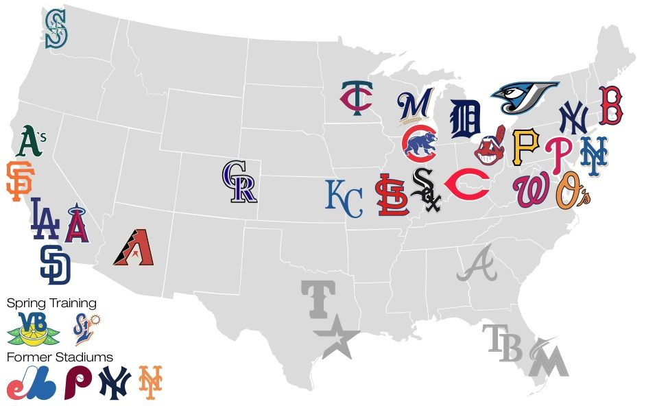 Attend a game in each fo the 30 MLB stadiums. map of the 30 mlb ...