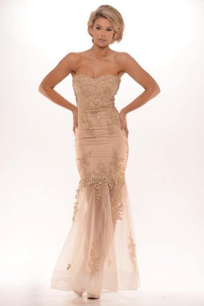 Portia Scarlett Australian Designer Candice Nude Lace Formal Gown