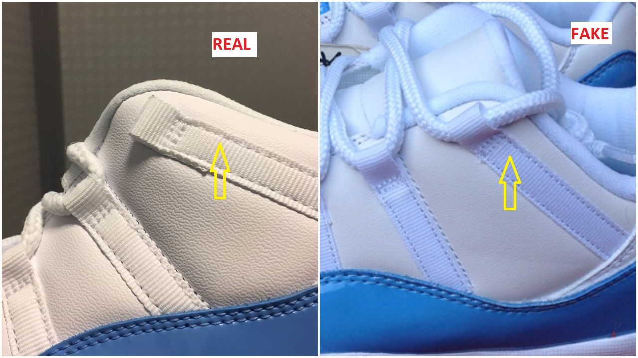 Here Are Quick Tips To Bust The Fake Air Jordan 11 Low Columbia UNC ... dea33f416