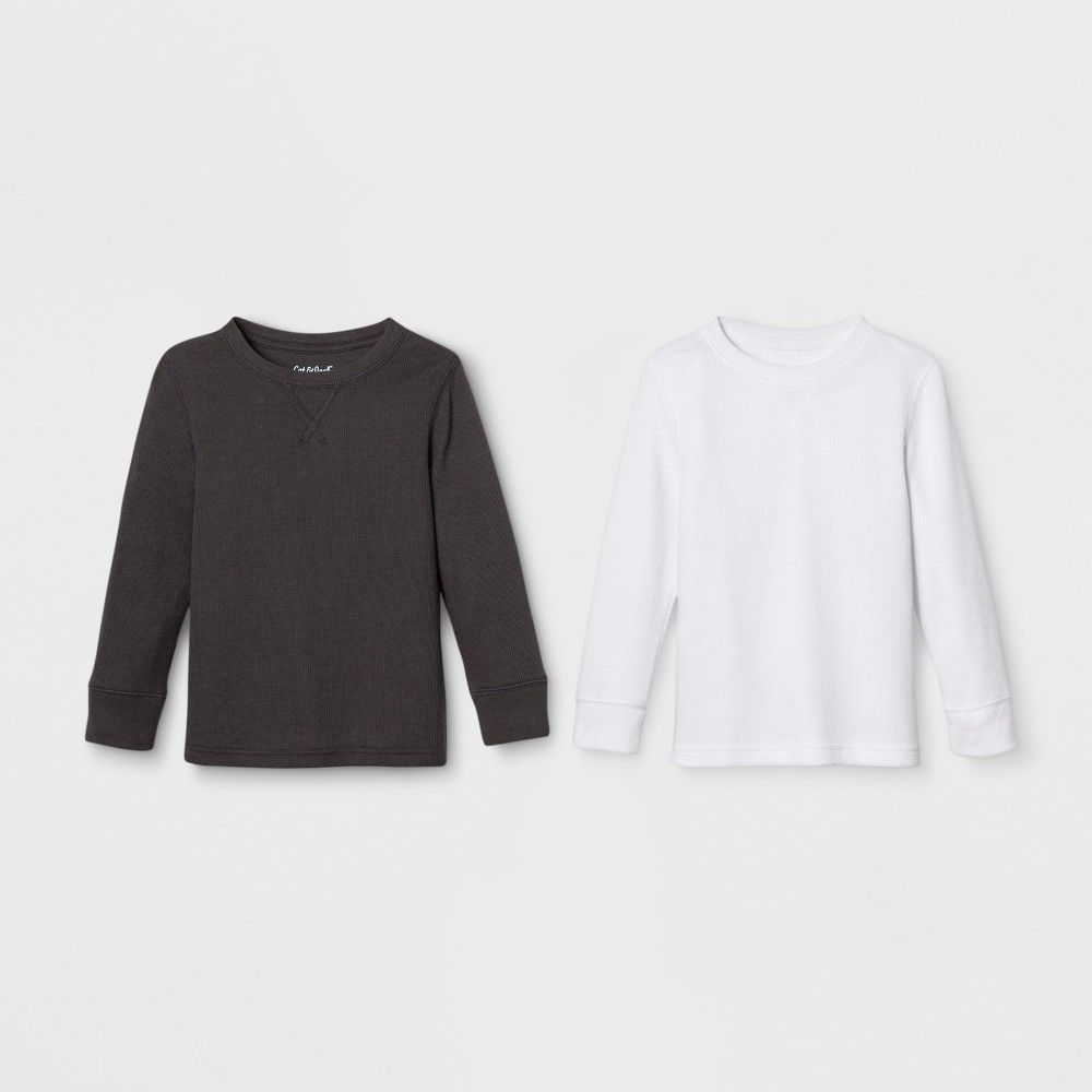 0f0bcf8ba6 Keep him nice and comfy in cooler weather with a T-Shirt from this 2-Pack  of White/Black Thermal Long-Sleeve T-Shirts from Cat and Jack.