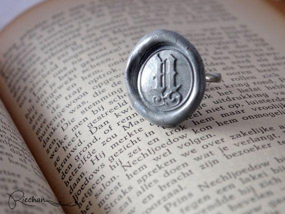 Silver Wax Seal Ring, Monogram Ring, Initial Ring, Signet