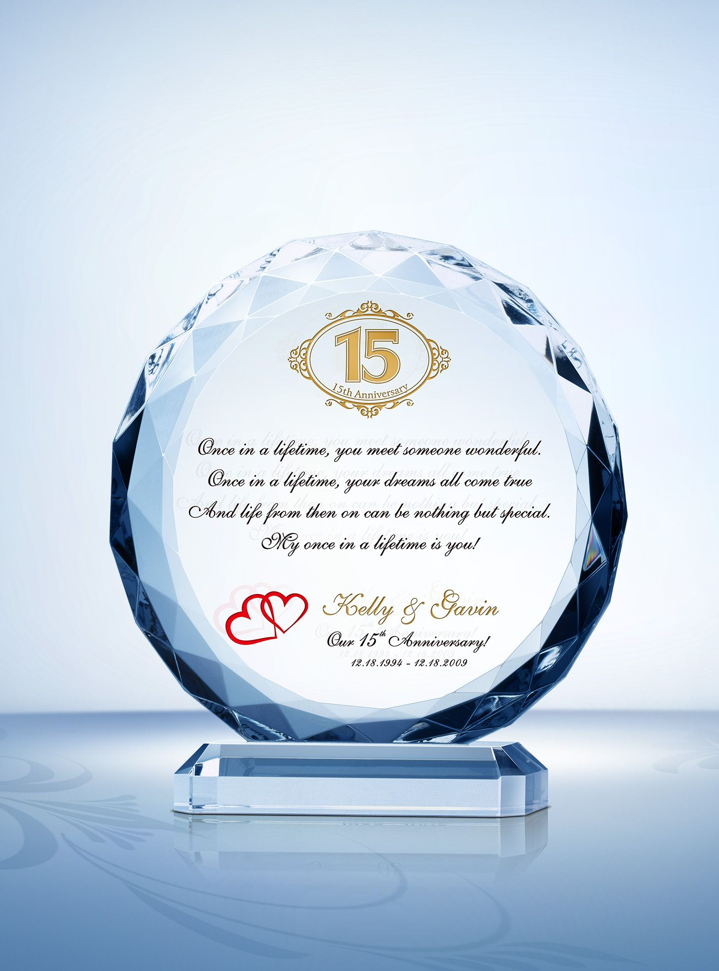 15th (Crystal) Wedding Anniversary Gifts | Wedding anniversary gifts ...