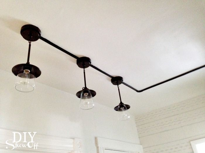 Diy show off pantry industrial and lights for Diy conduit light fixture