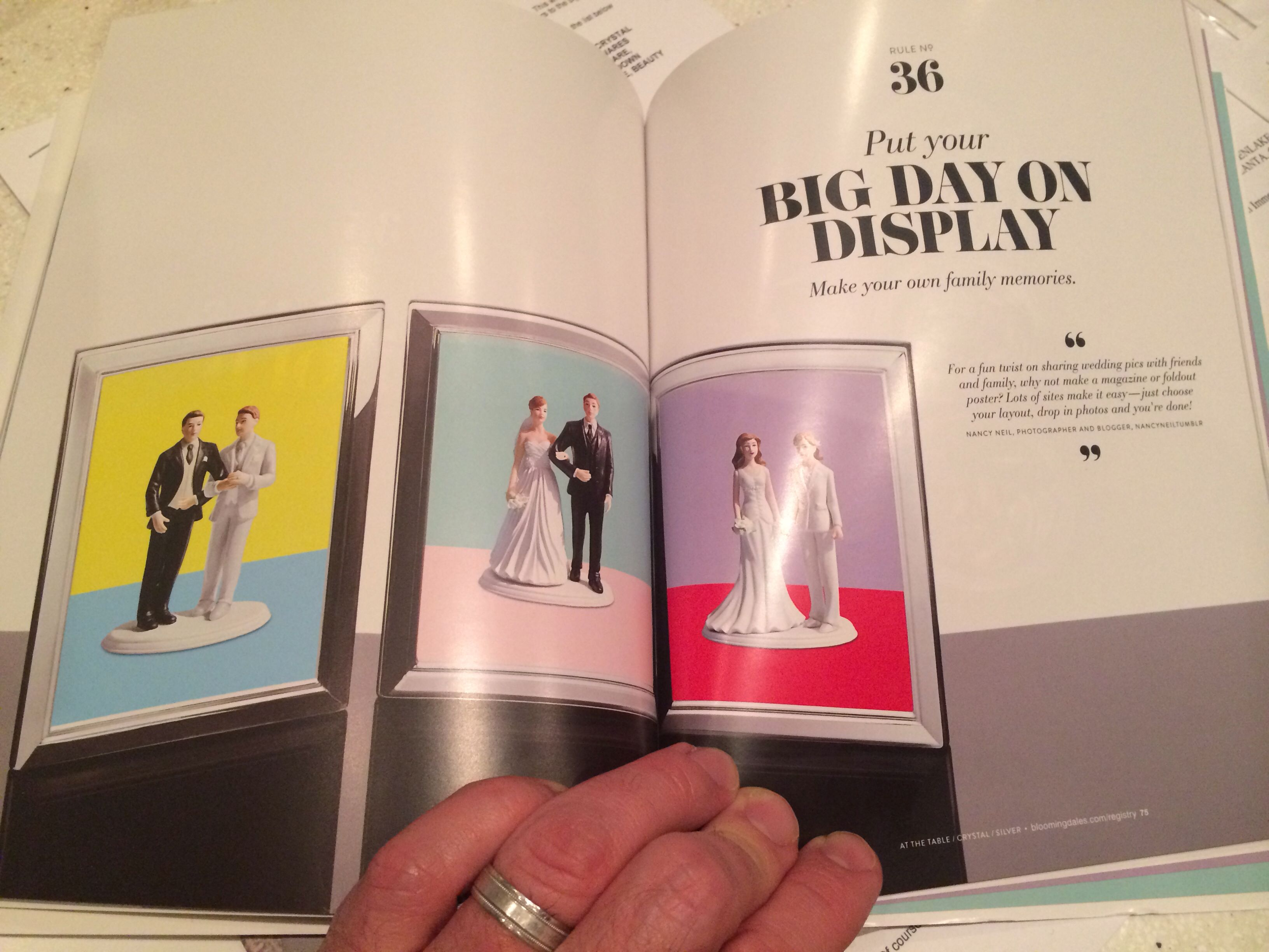 """Bloomingdales- what a classy act through and through. From our amazing in-store experience at Medinah with Karen, to our complimentary Waterford wine glasses to this elegant promo catalog featuring different couples-- makes a gay wedding feel that much more """"normal""""."""