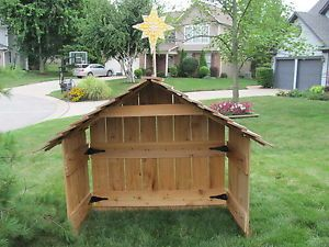 Cedar Nativity Stable Creche Wood Large Xmas Blowmold Star Outdoor