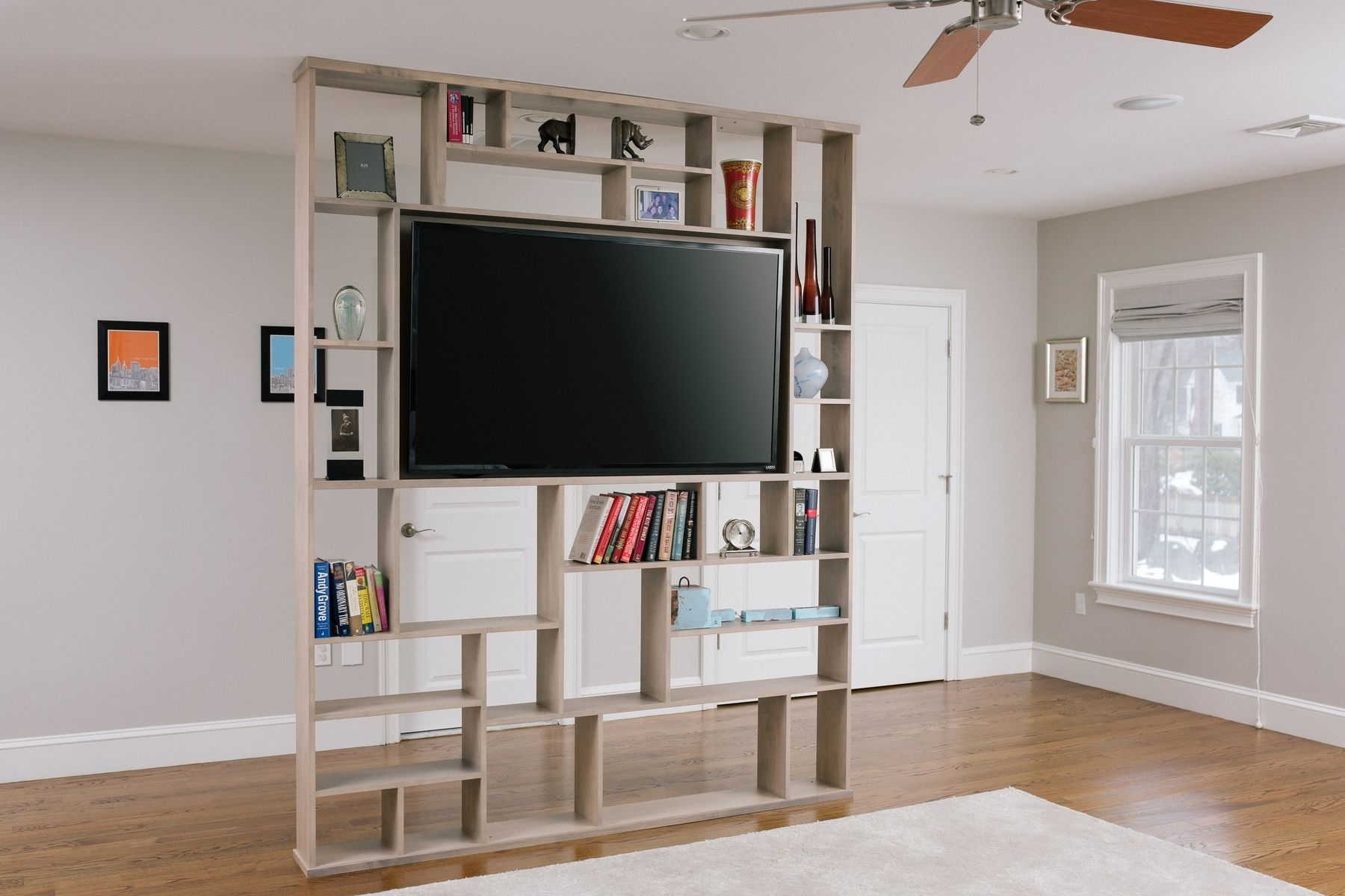 Custom Made Lexington Room Divider Bookshelf Tv Stand For Middle Of The TV