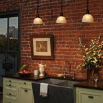 could turn our brick alcove off the kitchen into part of the kitchen this way. been wanting to incorporate it.   www.rejuvenation.com