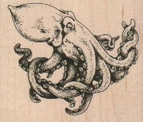 Octopus Squid rubber stamps Rubber stamp wood Octopus Octopus 19111 #rubberstamping