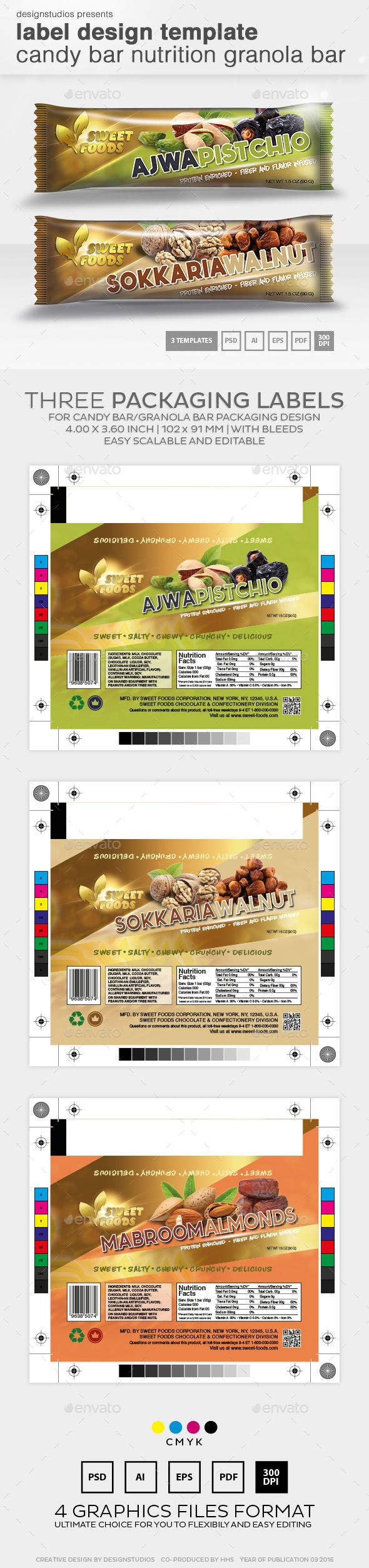 Label Design Template Candy Bar Nutrition Granola Bar  Packaging