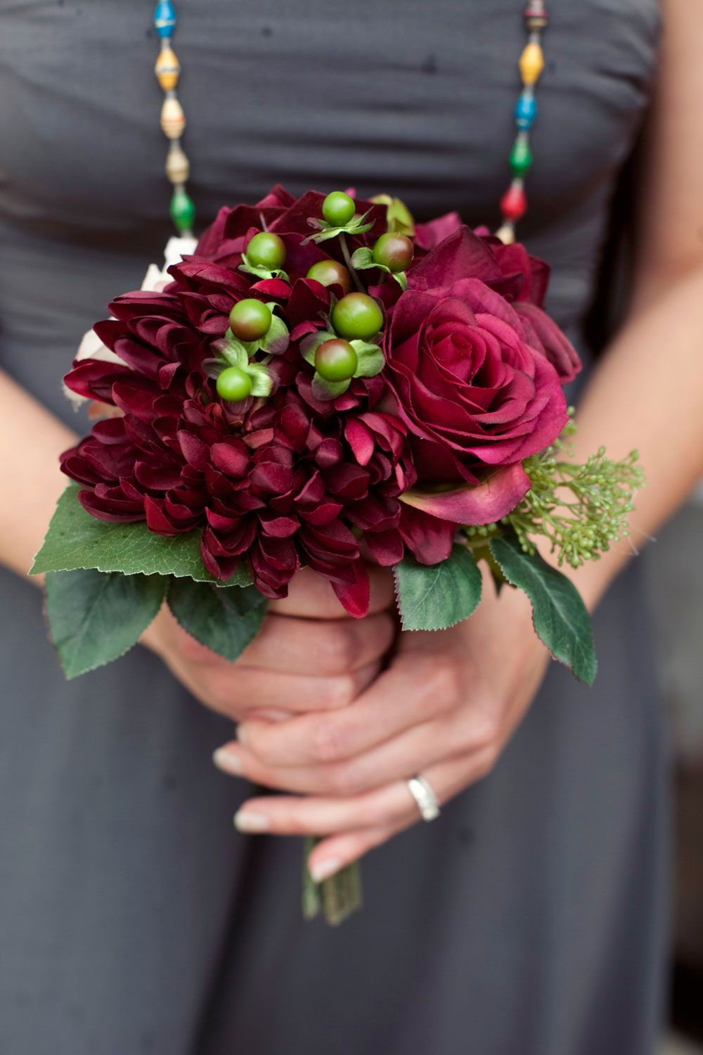 wedding charcoal gray and deep red