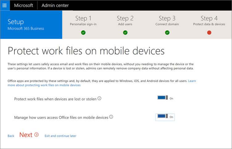 Set up Microsoft 365 Business by using the setup wizard