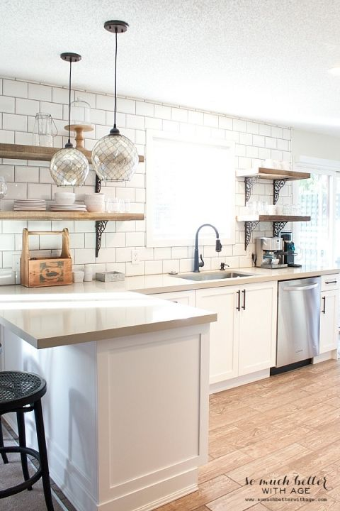 Move A Pendant Light Over The Sink And Get Rid Of Peninsula. Rustic Industrial  Kitchen Shelves By Somuchbetterwithage.com