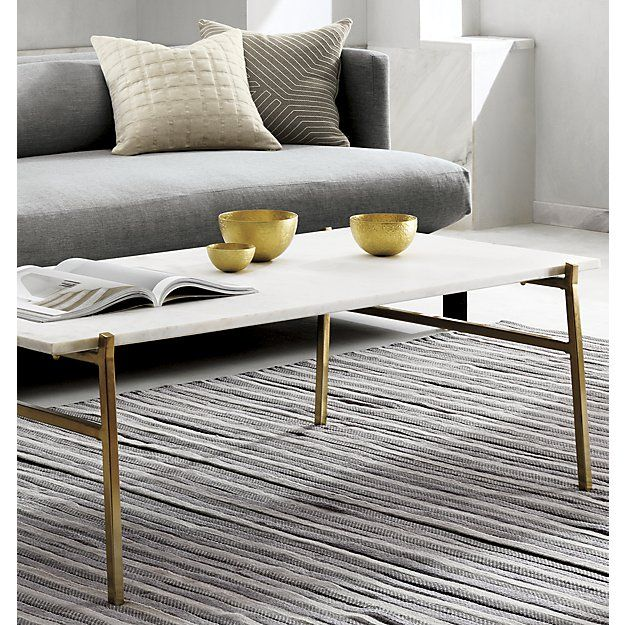 Slab Small Marble Coffee Table With Brass Base Living Space