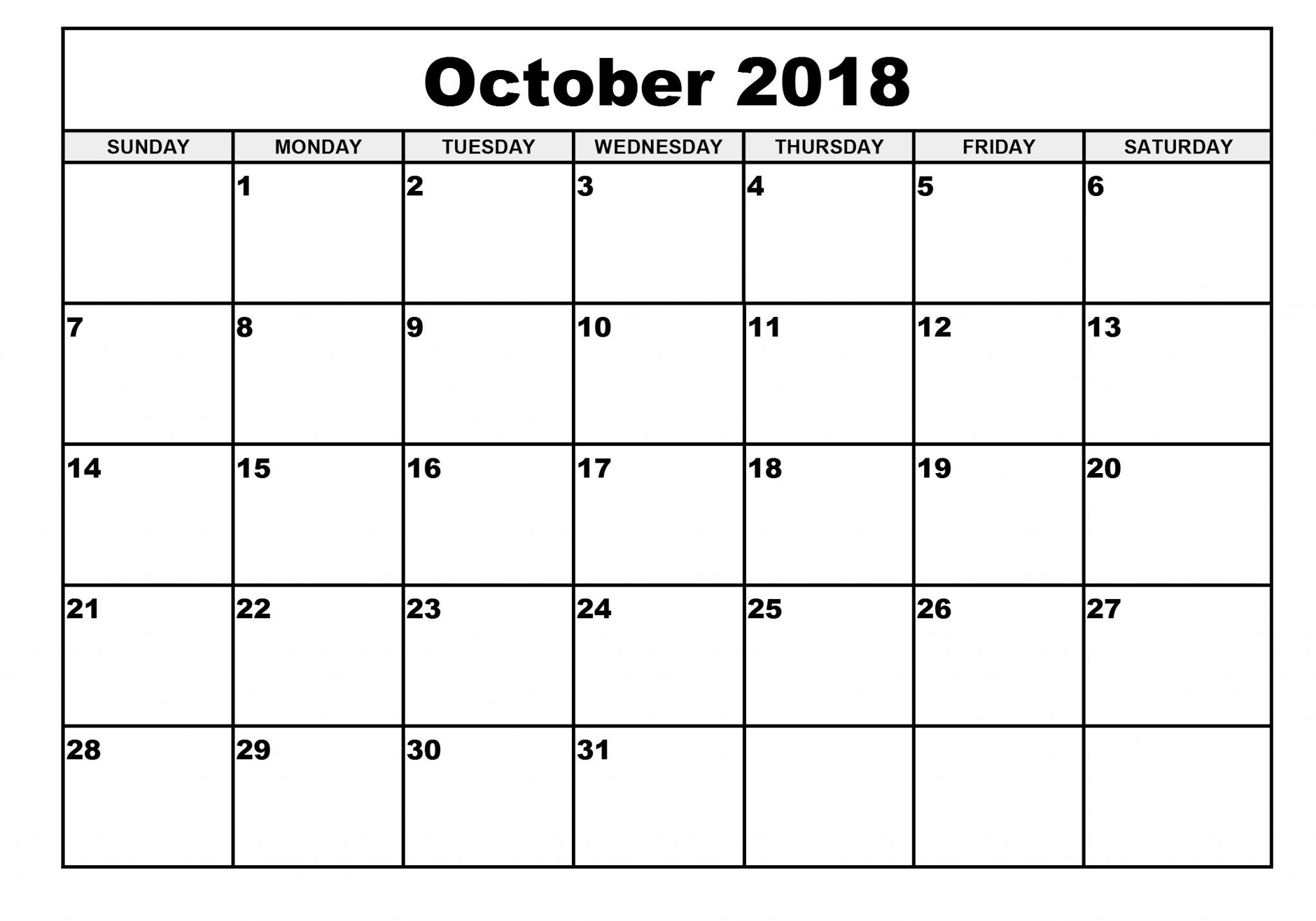 Free Printable Calendar October 2019 Pdf Template October