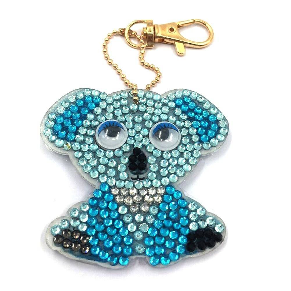 4pcs//set DIY Full Drill Diamond Painting Cartoon Animal Key Chain Jewelry Gift
