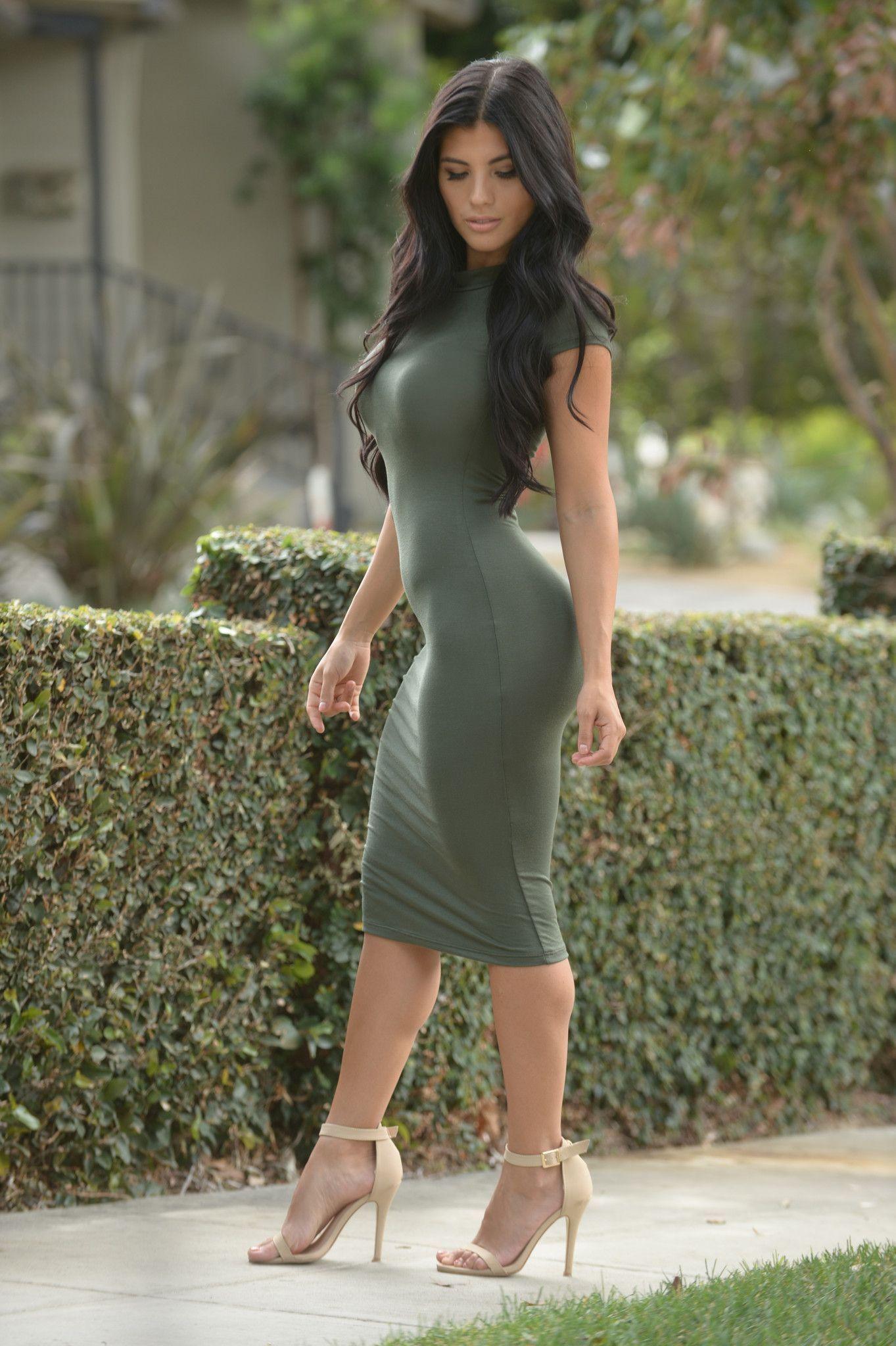 Tabia Dress - Olive | Mock neck, Cap and Black