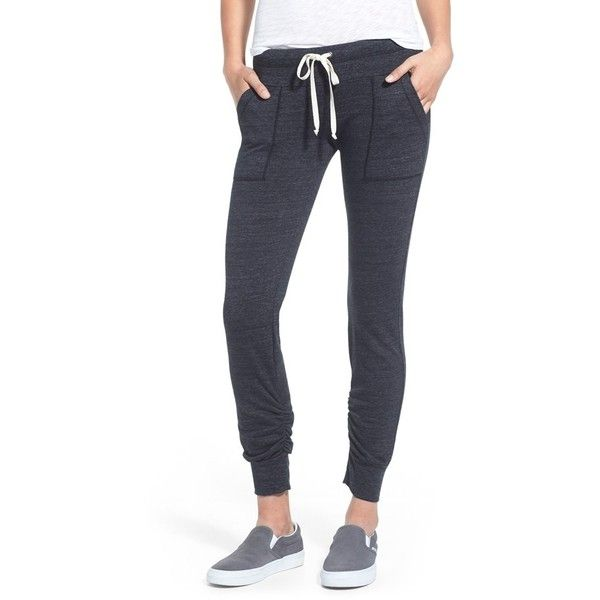Splendid 'Active' Ruched Jogger Pants ($118) ❤ liked on Polyvore featuring activewear, activewear pants and black