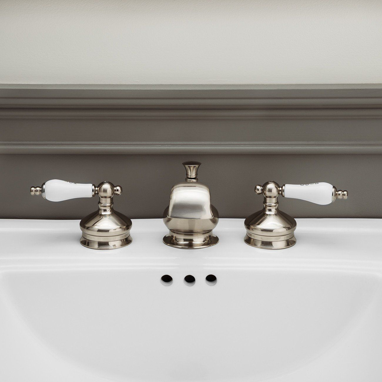 Widespread Bathroom Sink Faucet Porcelain Lever Handles With