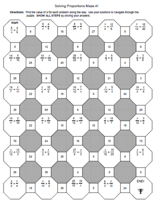 Solving Proportions Mazes Easy Version And A Harder Version From Mariedompierre On Teach Solving Proportions Solving Equations Solving Multi Step Equations