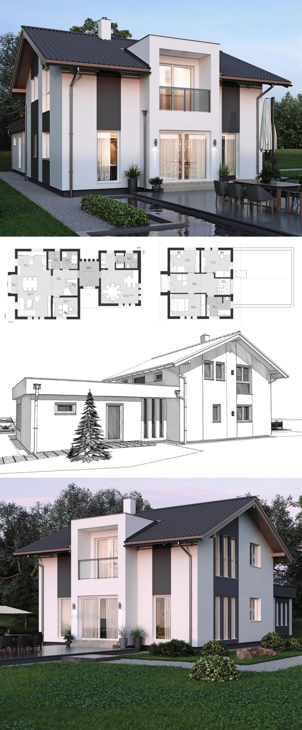 Modern contemporary styles architecture design house plans elk haus 153 dream home ideas with open floor and office layout by elk fertighaus