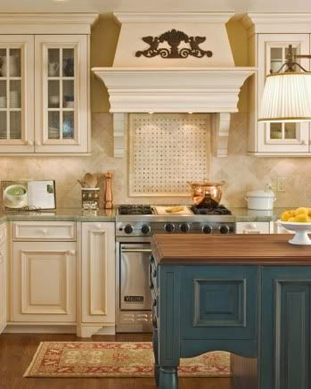 Cream Cabinets And Marine Island
