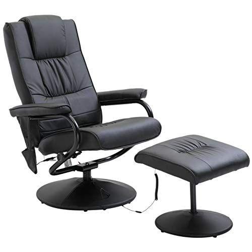 Homcom Fauteuil De Massage Vibration Electrique Relaxation Avec Chauffage Noir En 2020 Fauteuil Relax Fauteuil Massant