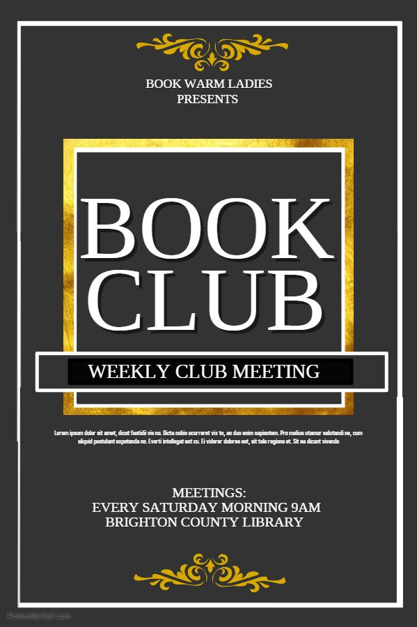 Book Club Meeting Event Advertisement Flyer Template Event flyer