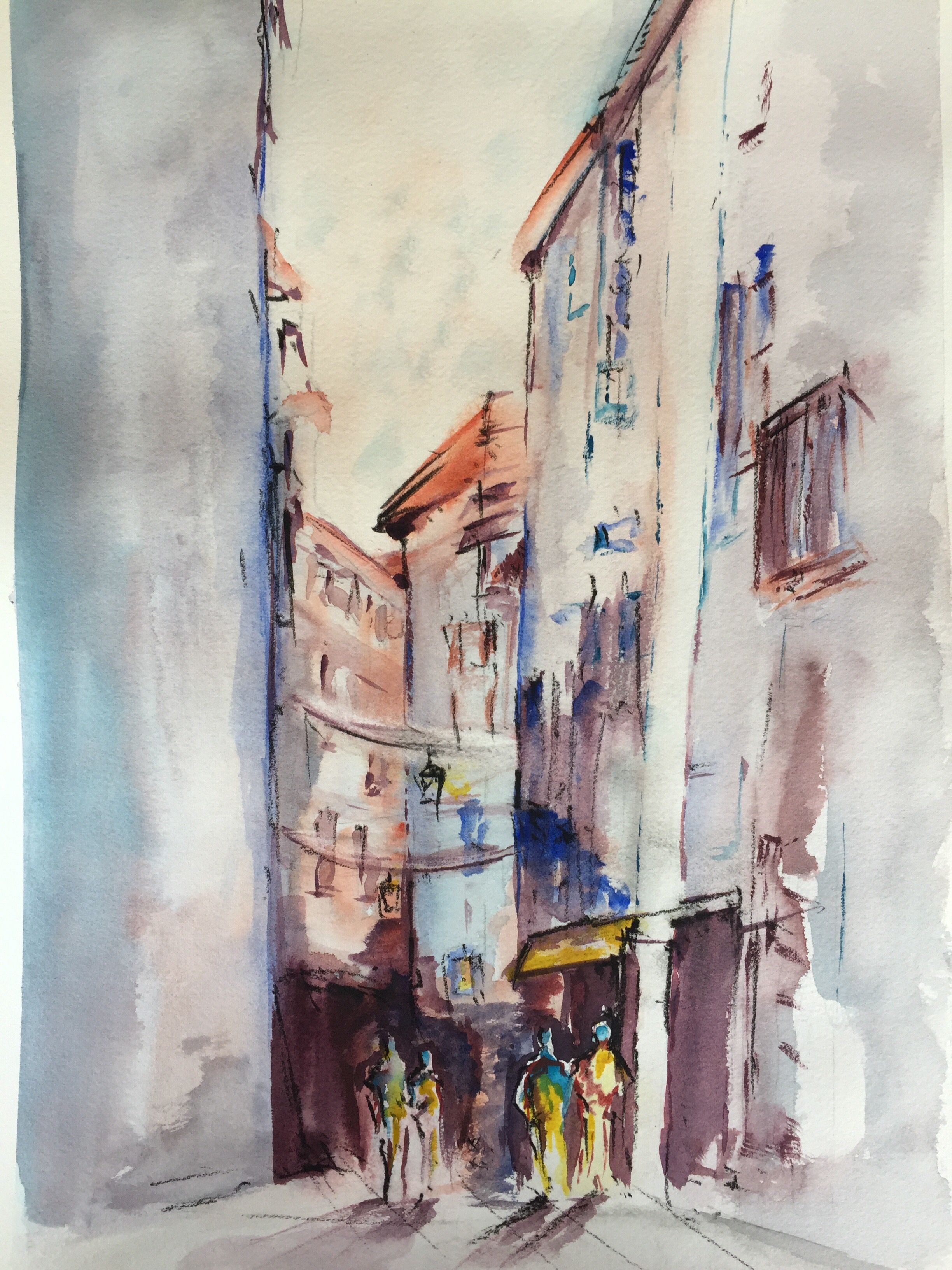Scene De Vie Ville Aquarelle Pastel Comment Peindre Les Arts